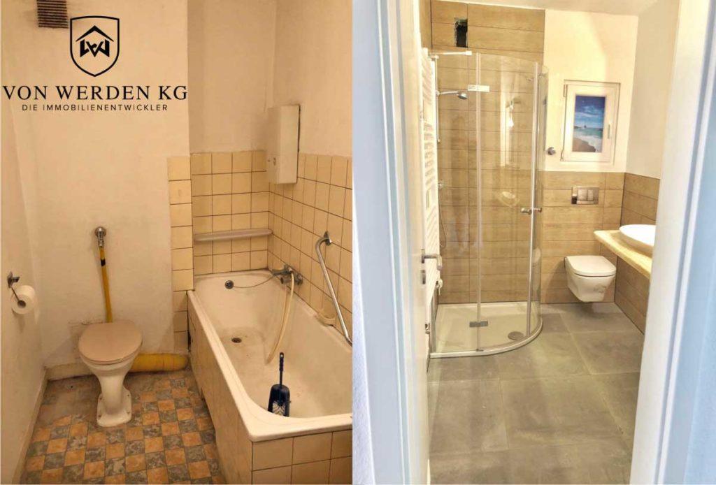 Bad und Dusche vorher und nach Sanierung